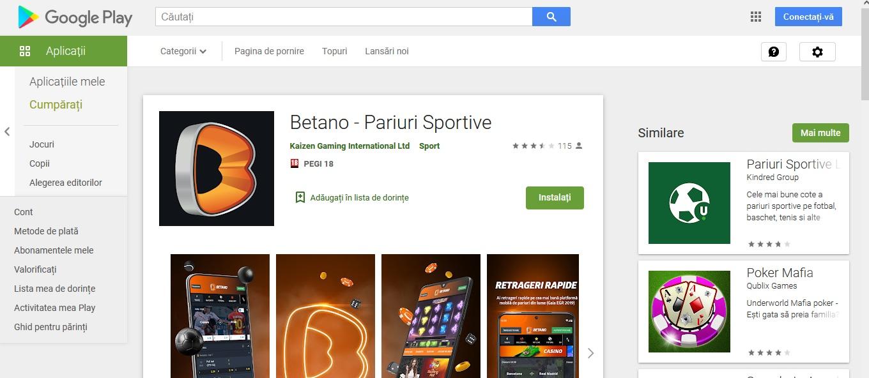 Betano are aplicatie dedicata pentru android
