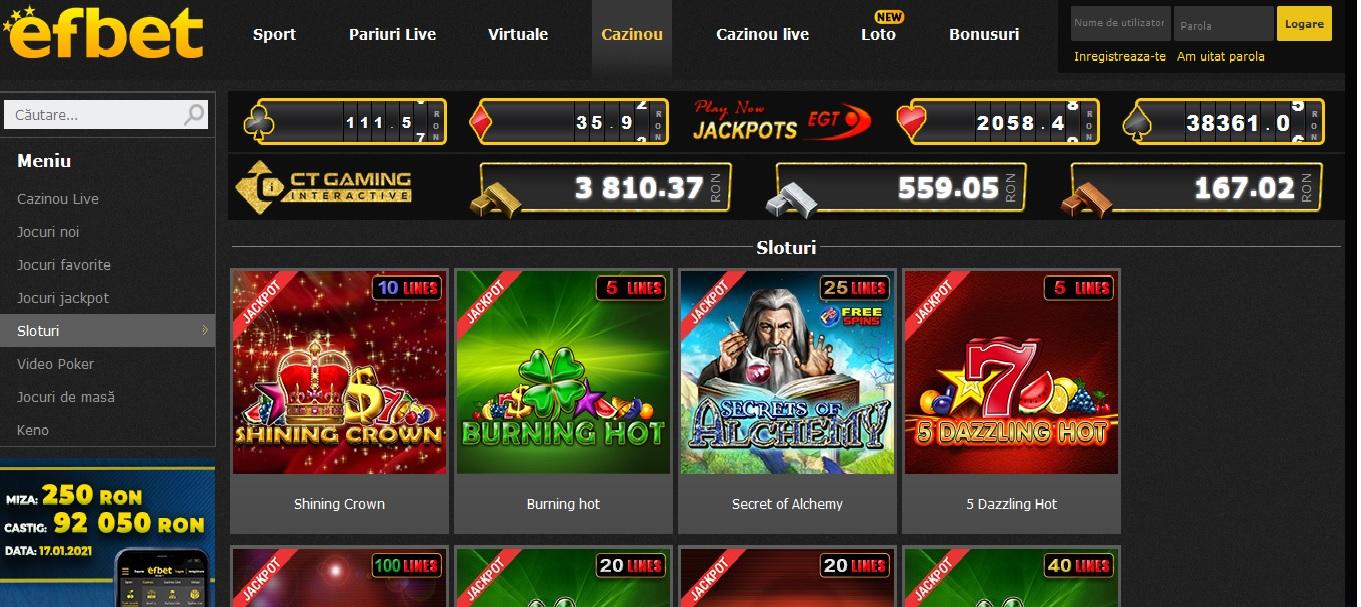 Efbet are cel mai primitor casino on si off