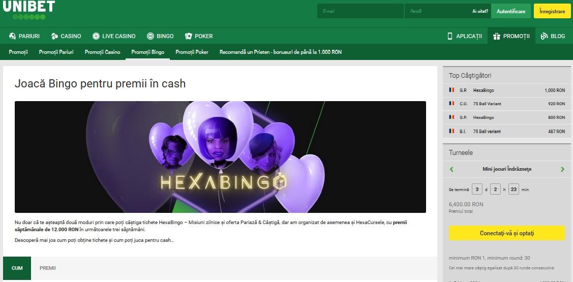 Joaca Hexabingo la Unibet pentru premii cash saptamanale