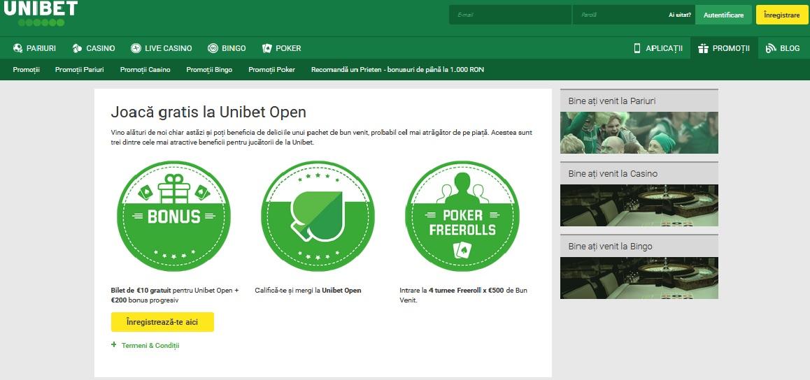 Openul Unibet iti aduce bonus 200 dolari la poker