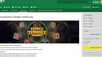 Temple Tumble de la Unibet aduce 25 rotiri gratis joia