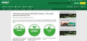 Unibet intampina clinetii cu bonus 300 ron si 100 rotiri