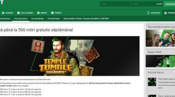 Unibet ofera 500 rotiri gratis saptamanal la Temple Tumble