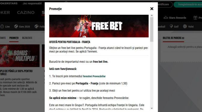 Bucurate de un free bet la meciul Portugaliei pe Betstatrs